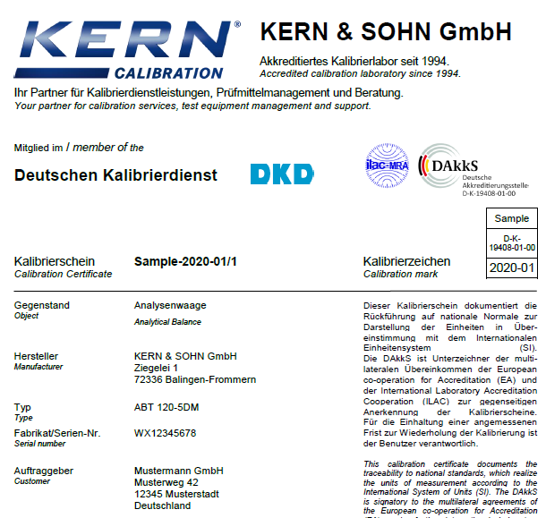 Calibration certificate kern sohn gmbh 1 official document yadclub Images