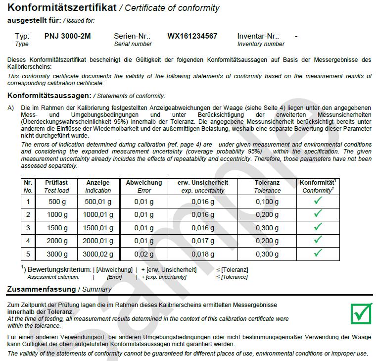 Calibration Certificate Kern Sohn Gmbh